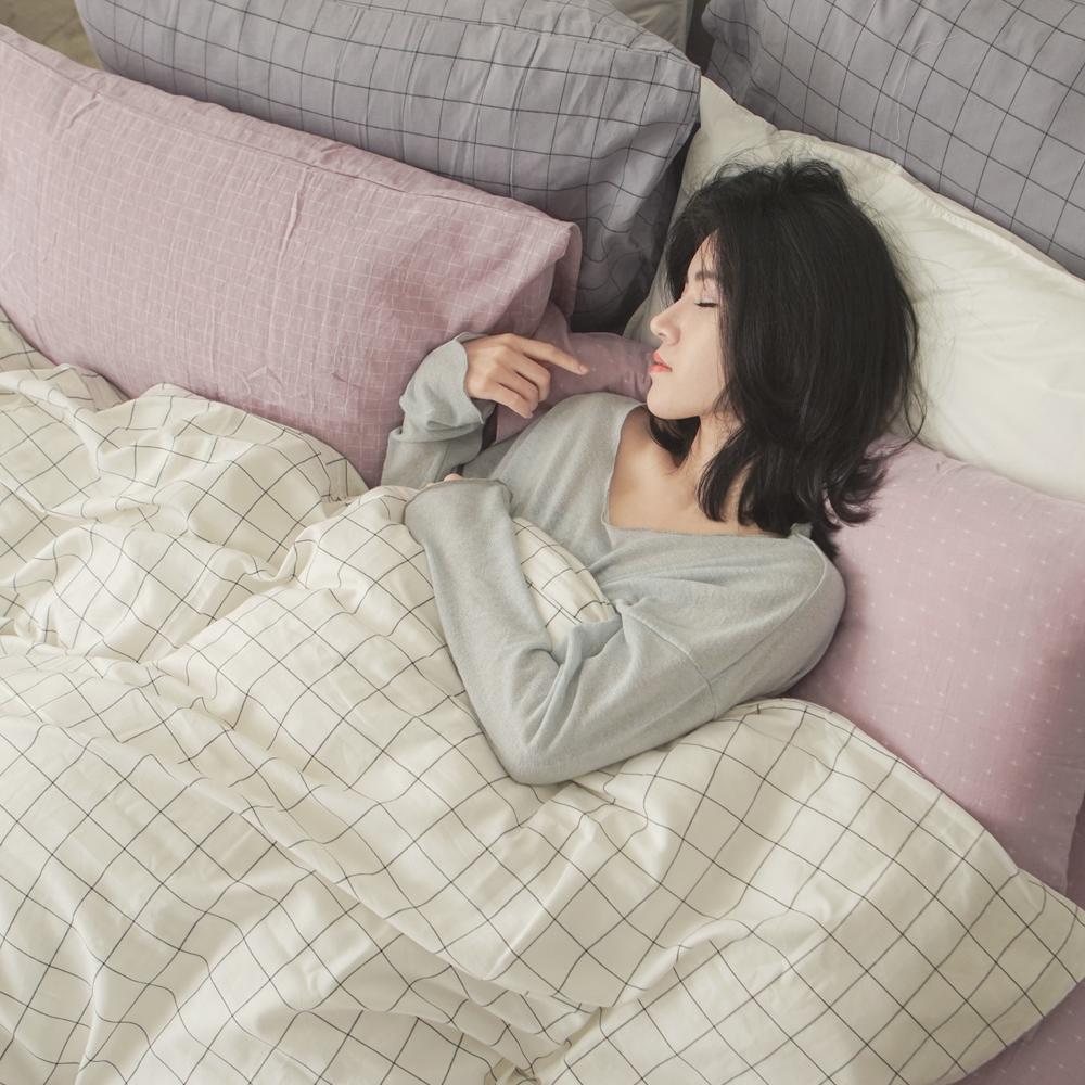 台灣製 長絨棉雙層紗 新疆棉 混搭/單人床包三件組 - 十字淺紫x大格白 翔仔居家