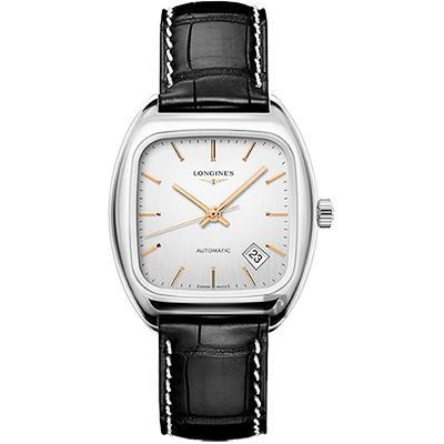 Longines浪琴 Heritage 1969 復刻機械腕錶-銀x黑/36mm
