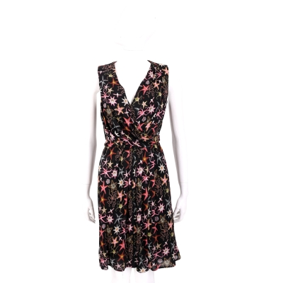 VERSACE 黑色珊瑚海星印花V領無袖洋裝