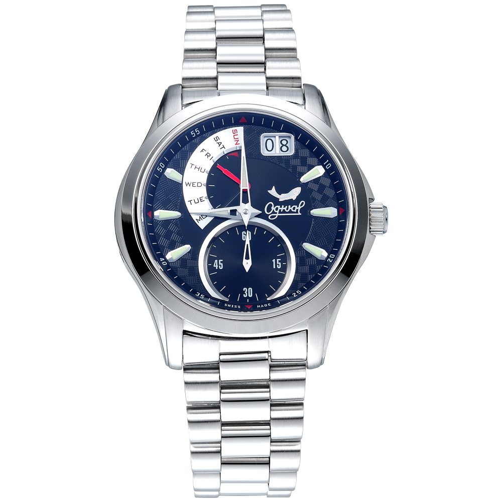 Ogival 瑞士愛其華 832PMS-BLACK 逆跳極速多顯腕錶-黑/40mm