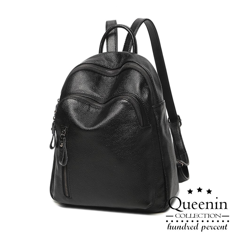 DF Queenin日韓韓版時髦荔紋皮革後背包