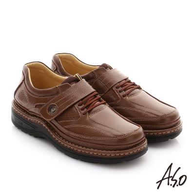A.S.O 抗震雙核心 牛皮魔鬼氈奈米紳士鞋 茶色