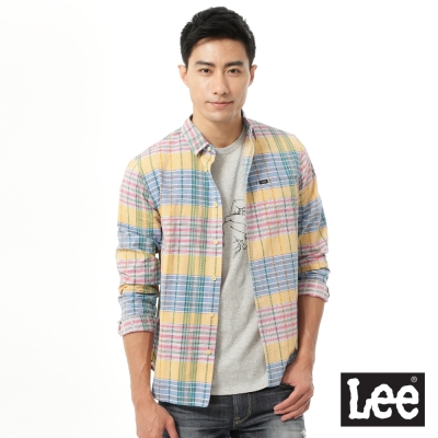 Lee 格紋長袖襯衫-男款-百搭耐看
