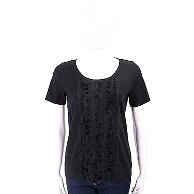 ANNA RACHELE 荷葉蕾絲細節黑色棉質T恤