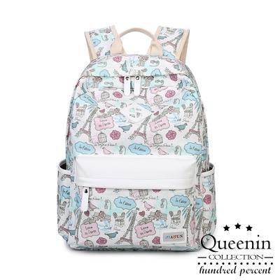 DF Queenin日韓 ~ 艾菲爾鐵塔圖案帆布款後背包