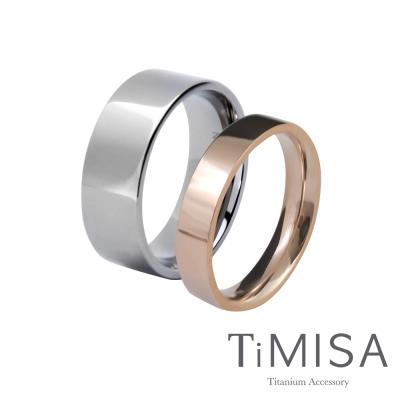 TiMISA 簡約時尚-寬+細(雙色) 純鈦對戒