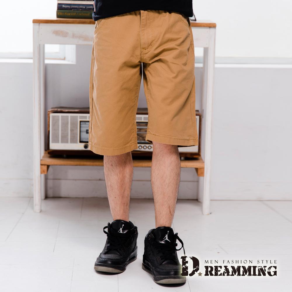 Dreamming 簡約雙色字母口袋純棉休閒短褲-卡其