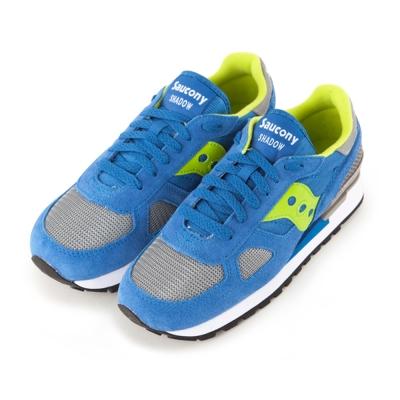 (女) 美國 SAUCONY 經典時尚休閒輕量慢跑球鞋-藍螢光綠