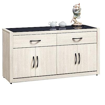 品家居 美多5.2尺橡木紋玻璃餐櫃下座-157.6x41.8x82.1cm免組