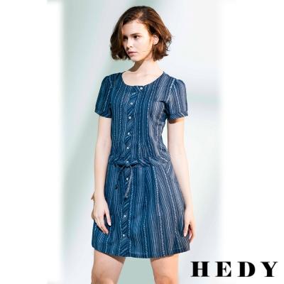 Hedy赫蒂 排釦麻紗印花洋裝(共二色)