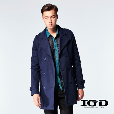 IGD英格麗-百年經典斜紋翻領風衣外套-藍