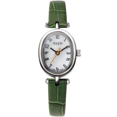 JULIUS聚利時 天使的指紋復古皮帶腕錶-墨綠/21x26mm