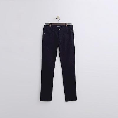 Hang-Ten-男裝-純色斜紋修身長褲-深藍