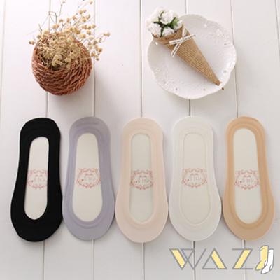 Wazi-基本款冰絲棉防滑船襪隱形襪1組五入