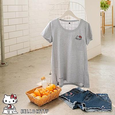 野餐KITTY~口袋造型高含棉短袖上衣-OB大尺碼