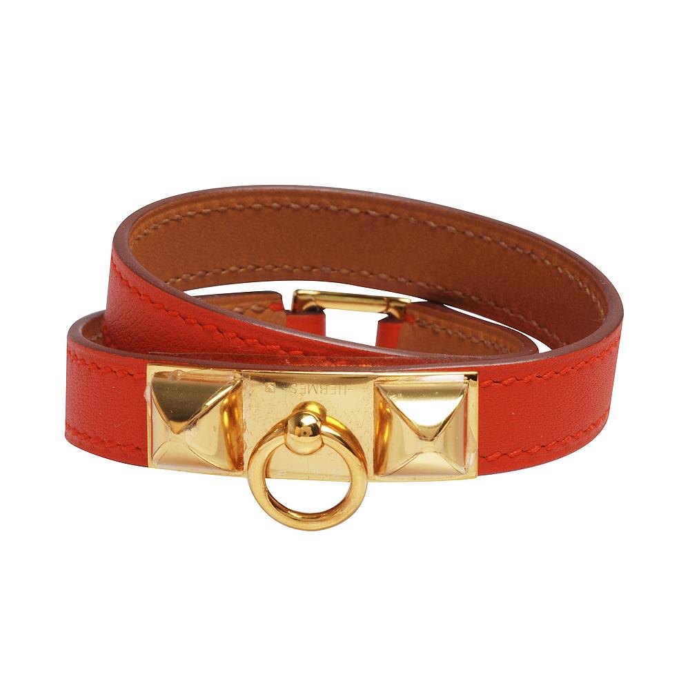 HERMES RIVALE系列金屬鉚釘小牛皮細版雙圈手環(S-Q年-橘紅X金)