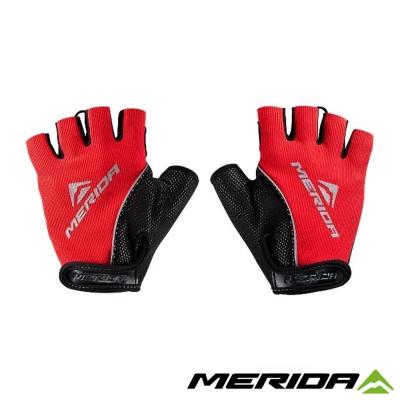 《MERIDA 》美利達吸震襯墊短指手套-黑紅