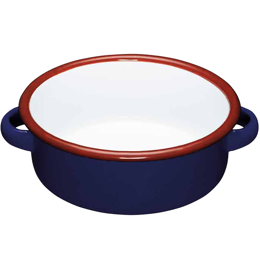 KitchenCraft 琺瑯雙耳濃湯碗(藍14cm)