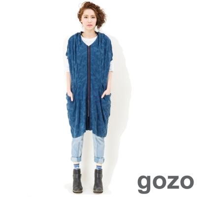 gozo-個性抓皺圖騰長版外套-藍色