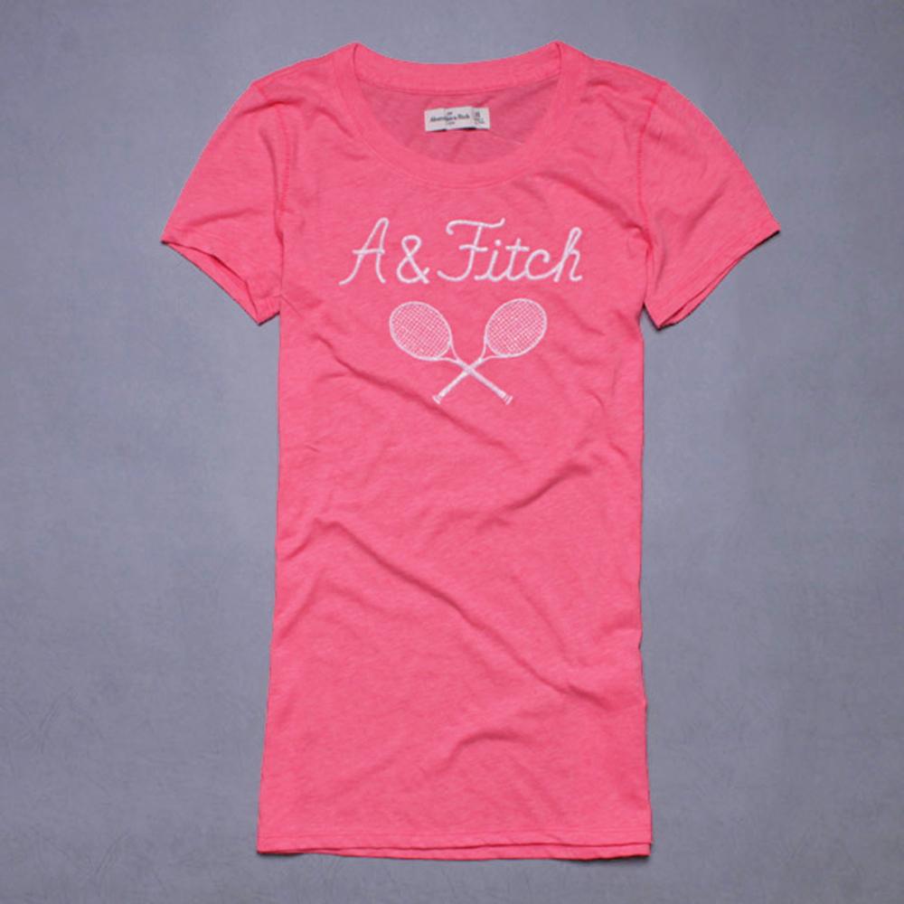 A&F Abercrombie & Fitch 金蔥刺繡字母圓領短T恤-螢光粉橘