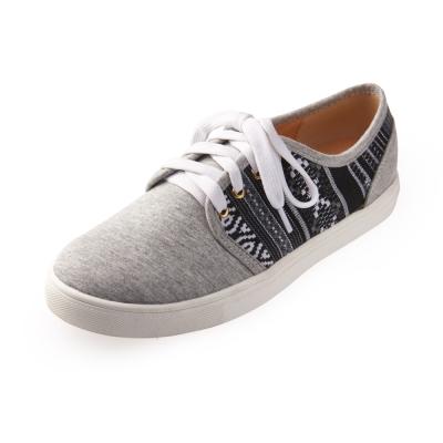 Chichi 民族風格 圖騰綁帶厚底休閒鞋*淺灰色