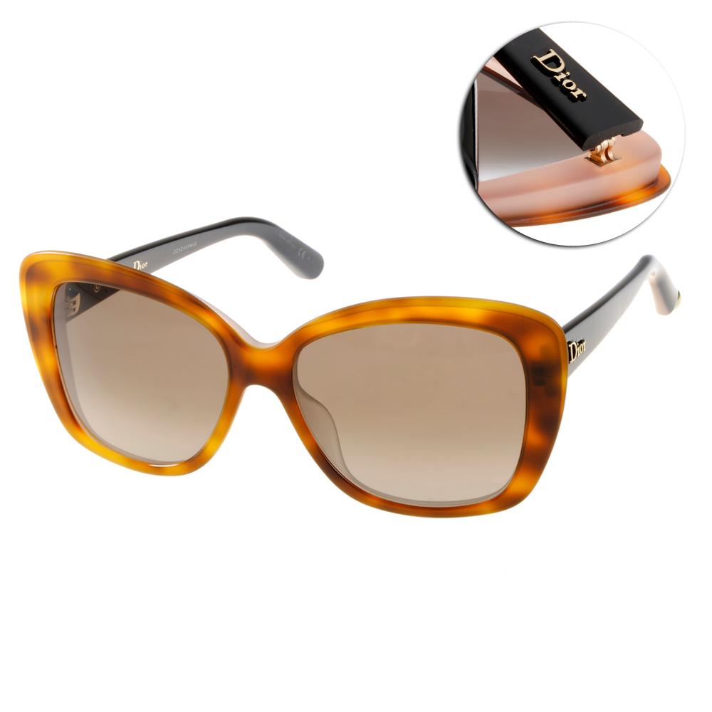 DIOR太陽眼鏡 時尚大框/琥珀-黑#PROMESSE2 3IEJ6