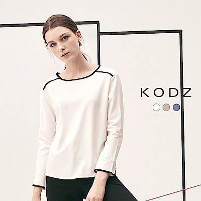 東京著衣-KODZ 雜誌款設計滾邊多色上衣-S.M.L(共三色)