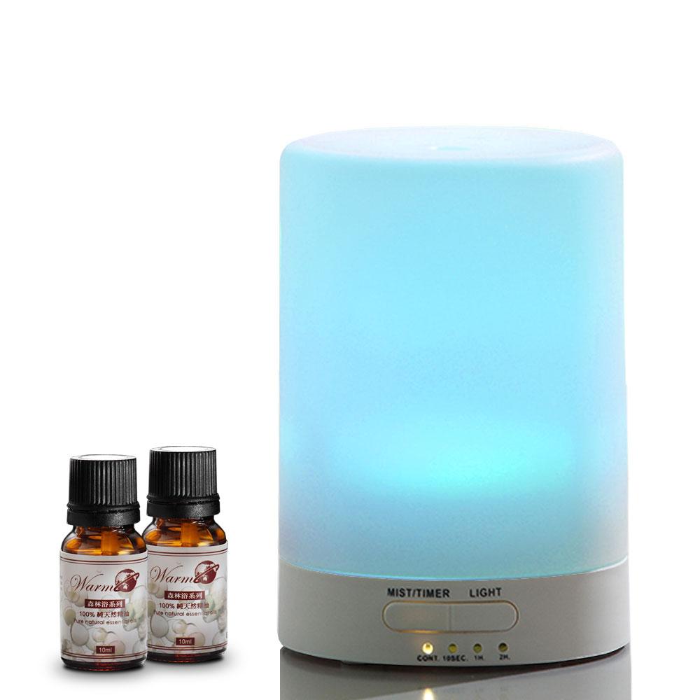 Warm燈控/定時超音波負離子水氧機W-116S七彩燈(2代機)+單方純精油10mlx2