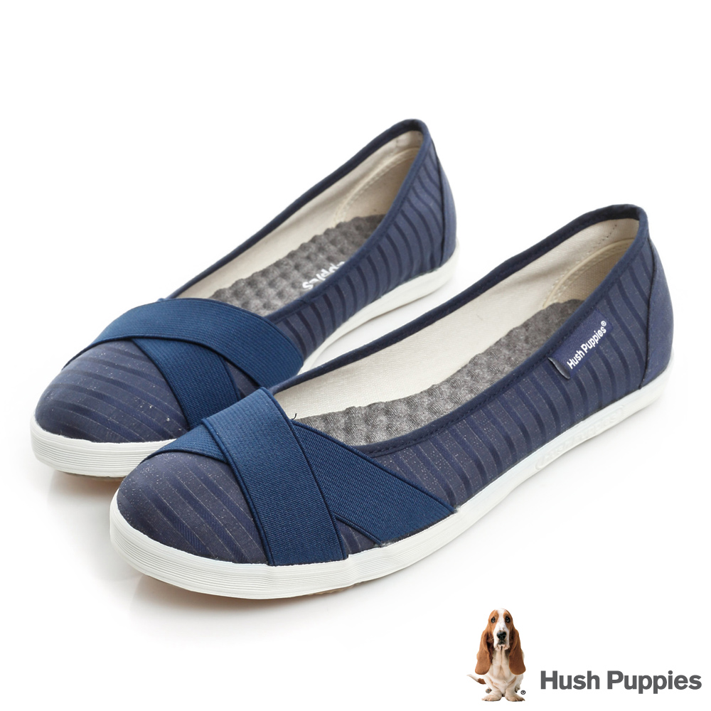 Hush Puppies低奢緞面咖啡紗交叉帶娃娃鞋-深藍