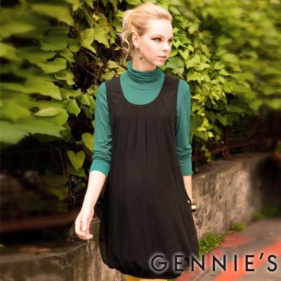 Gennies奇妮-Faravani系列-高雅黑兩層式飄逸秋冬背心洋裝-C2205