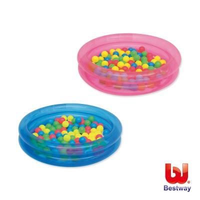 Bestway。36X8吋雙環充氣球池/水池附50顆彩球-藍、粉