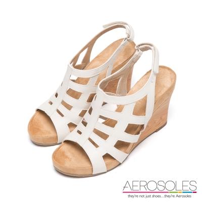 AEROSOLES-幾何鏤空編織魔鬼氈後拉式楔型鞋-知性裸色