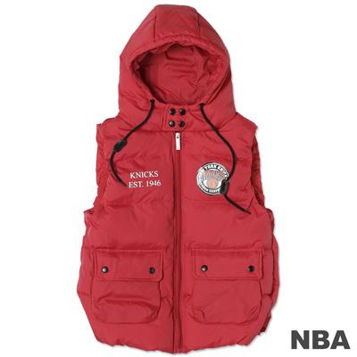 NBA-紐約尼克隊輕量連帽羽絨背心-深紅(女)