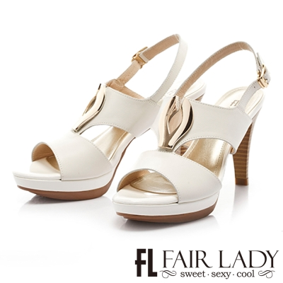 Fair Lady 摩登純色金屬環扣高跟涼鞋 白