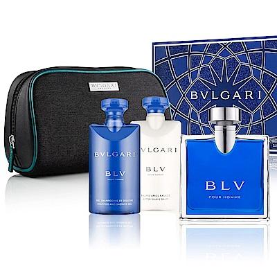 BVLGARI寶格麗 經典藍茶香氛禮盒(淡香水+沐浴膠+鬍後乳)內贈收納包