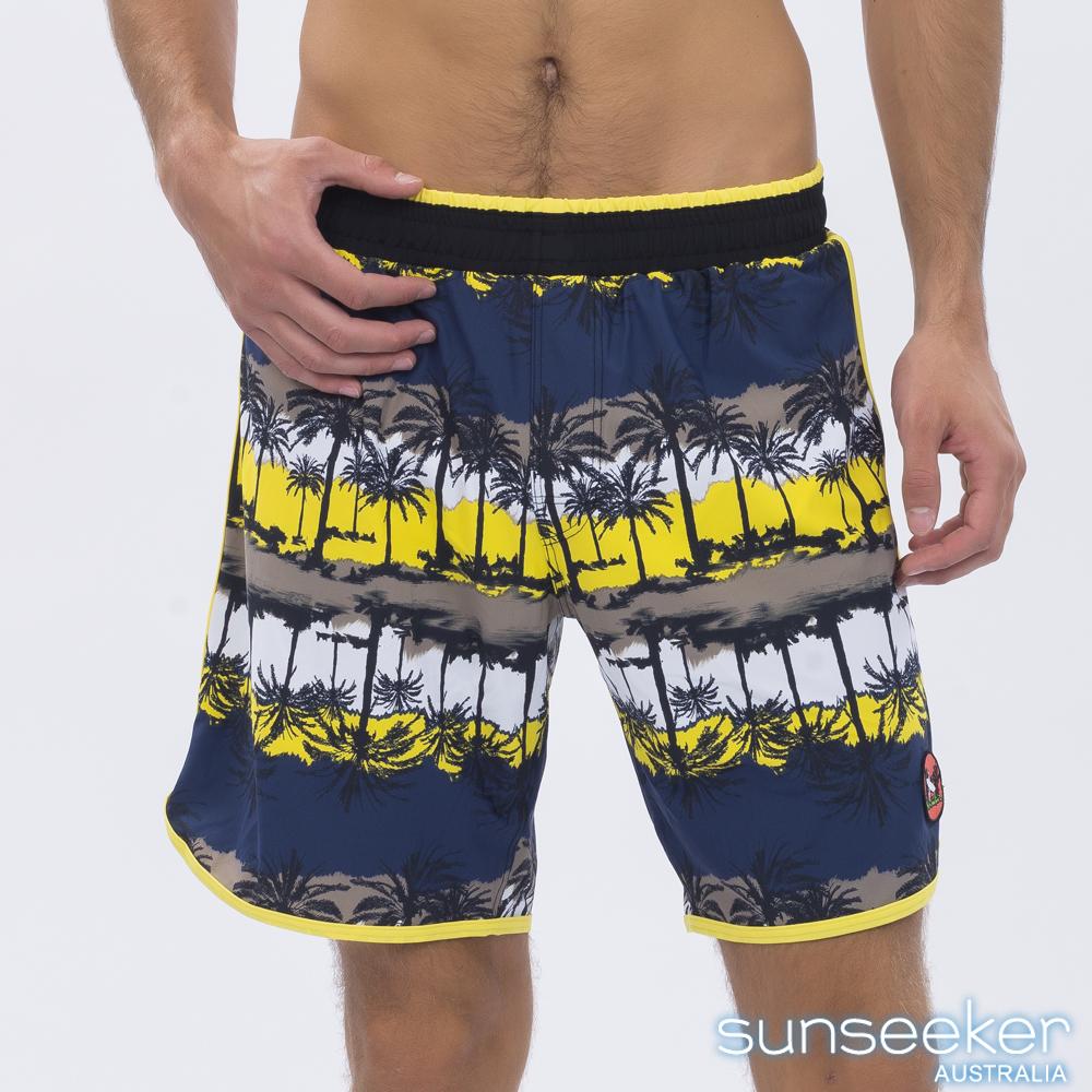澳洲Sunseeker泳裝時尚男士快乾衝浪泳褲-椰林黃