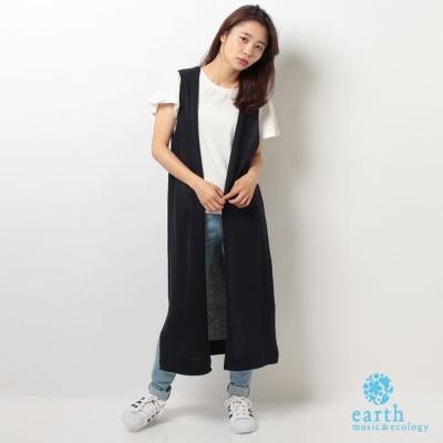 earth music 長版素色背心式外罩衫