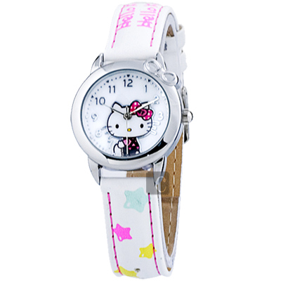 HELLO KITTY 星星時光腕錶-白色/28mm