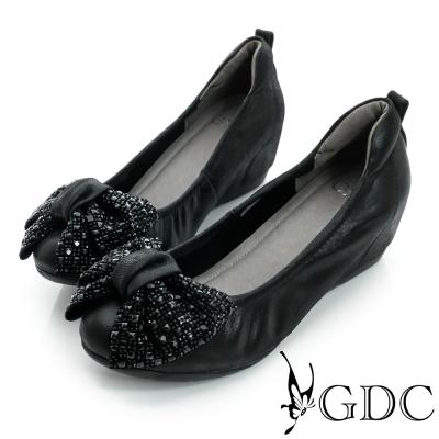 GDC百搭-蝴蝶水鑽內增高真皮平底娃娃鞋-黑色