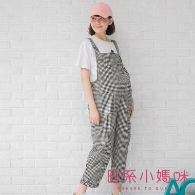 日系小媽咪孕婦裝-孕婦褲~經典黑白格多口袋吊帶褲