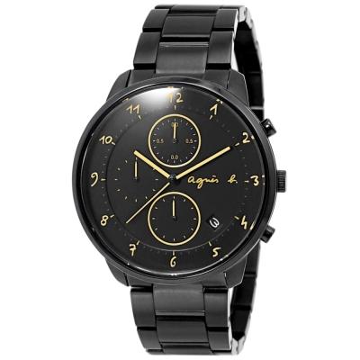 agnes b.簡約手繪時標時尚計時手錶-黑/40mm