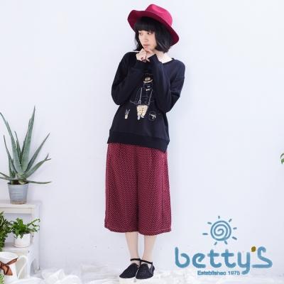 betty's貝蒂思 復古風點點七分寬褲(紅色)