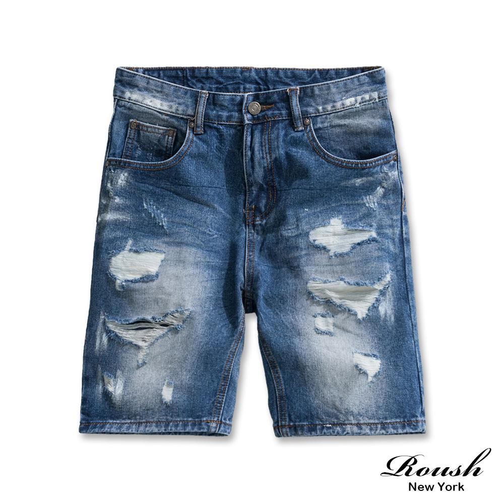 Roush 潑漆水洗刷破補丁牛仔短褲