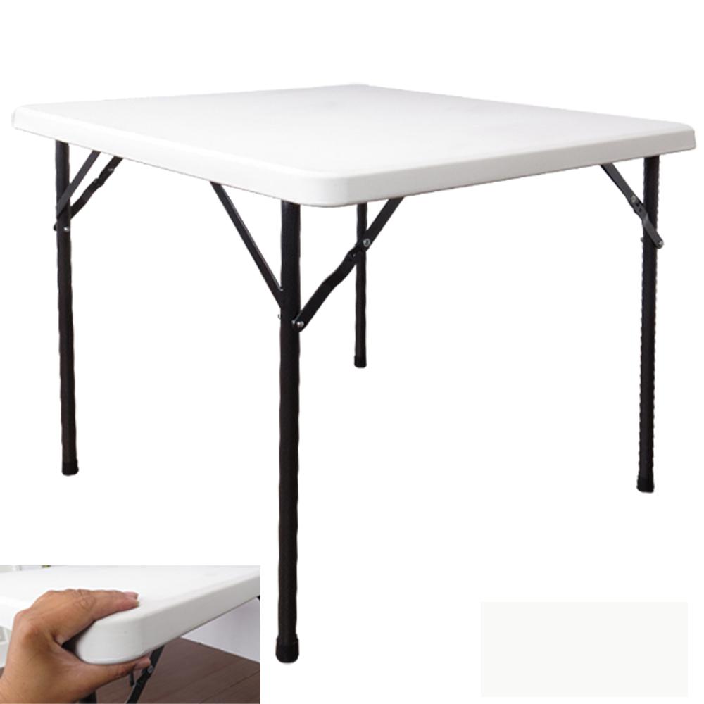 邏爵LOGIS- 生活方桌防水塑鋼折合桌/拜拜桌/露營桌/戶外桌 88CM