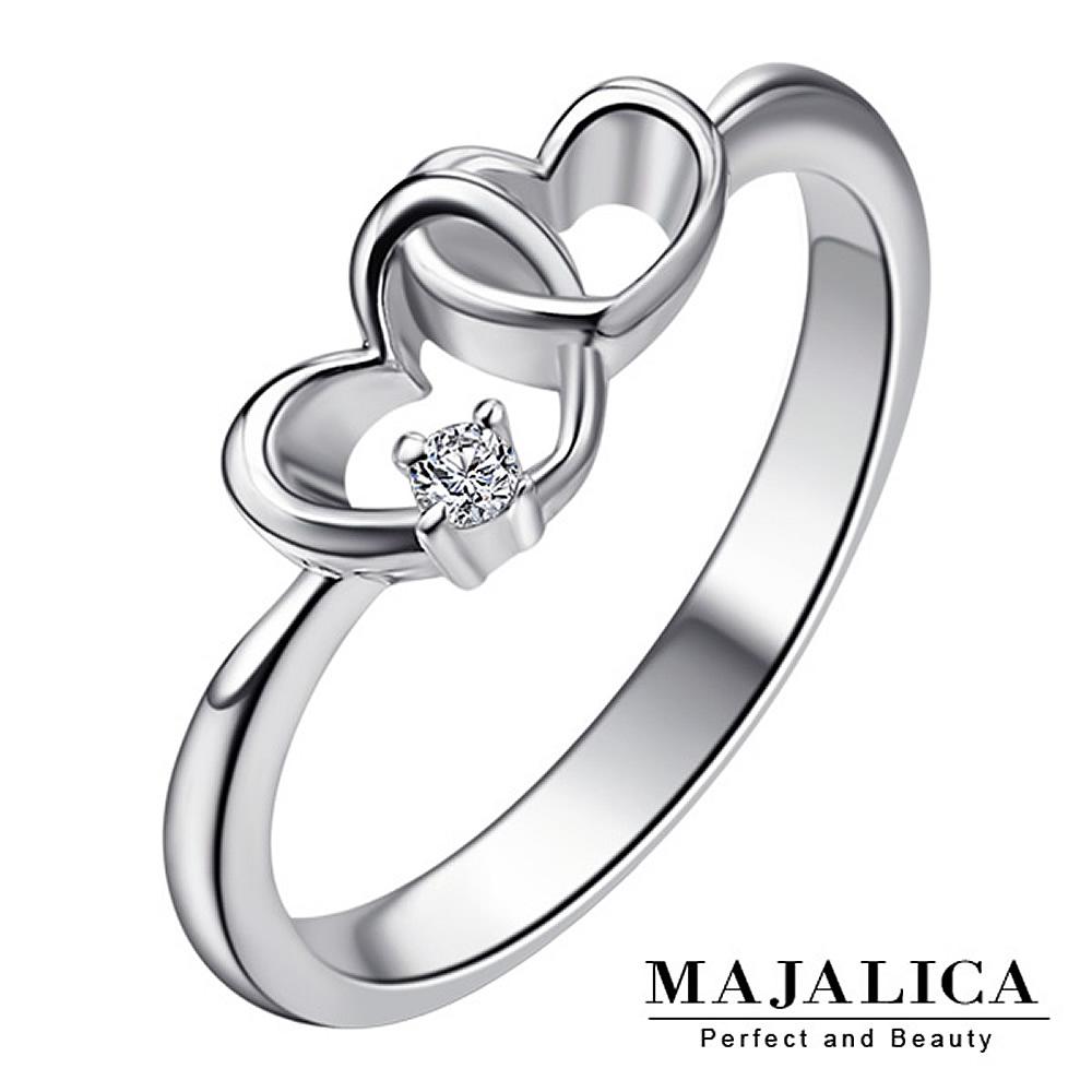 Majalica純銀戒指雙愛心戒 幸福依戀 925純銀尾戒