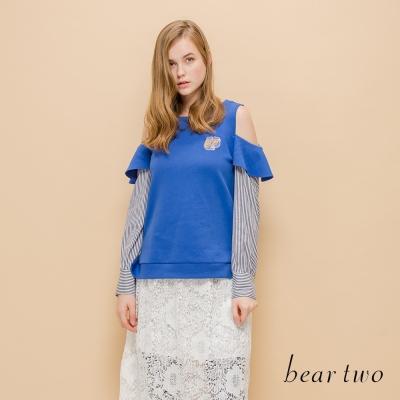 beartwo 網路獨家-裸肩荷葉邊拼接直紋造型上衣(二色)