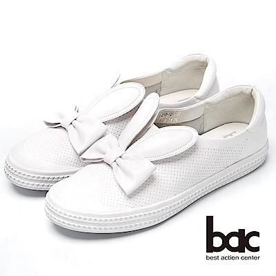 bac話題女王-兔耳造型真皮平底鞋-白色