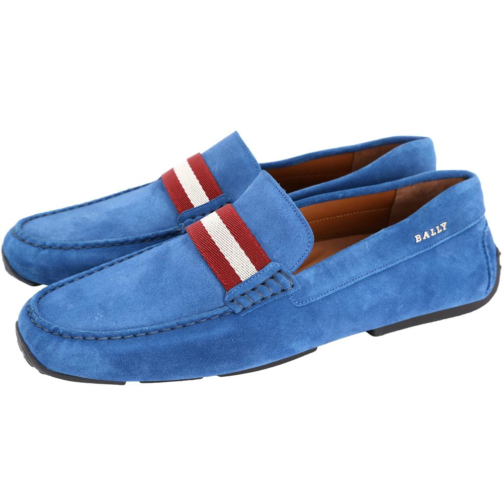 BALLY Pearce 經典織帶麂皮樂褔鞋(藍色)