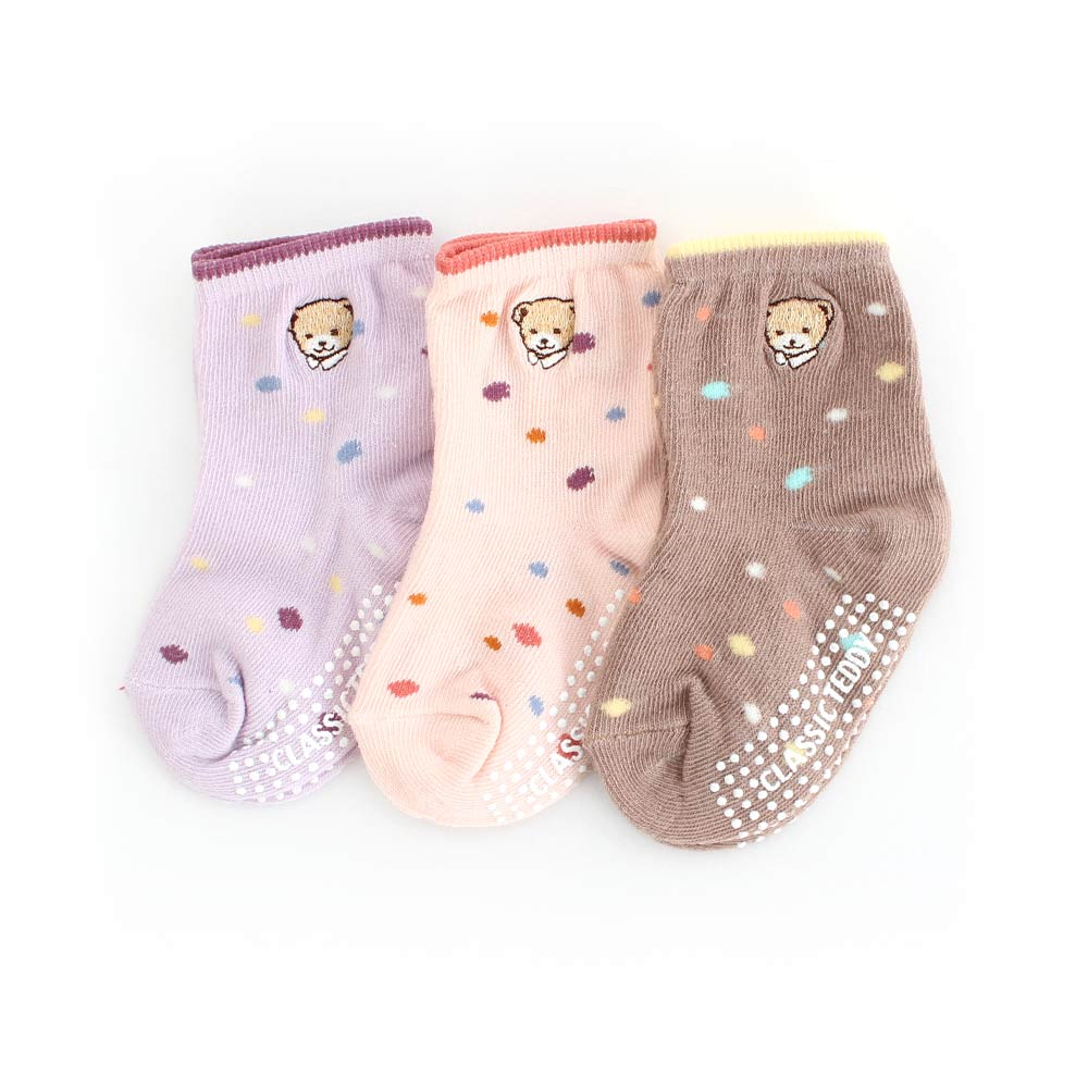 ClaasicTeddy精典泰迪 繽紛圓點止滑兒童短襪3入組(9-12cm)