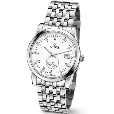 【TITONI 瑞士梅花錶】Space Star 天星系列-白色錶盤不鏽鋼錶帶/41mm(83838 S-535)